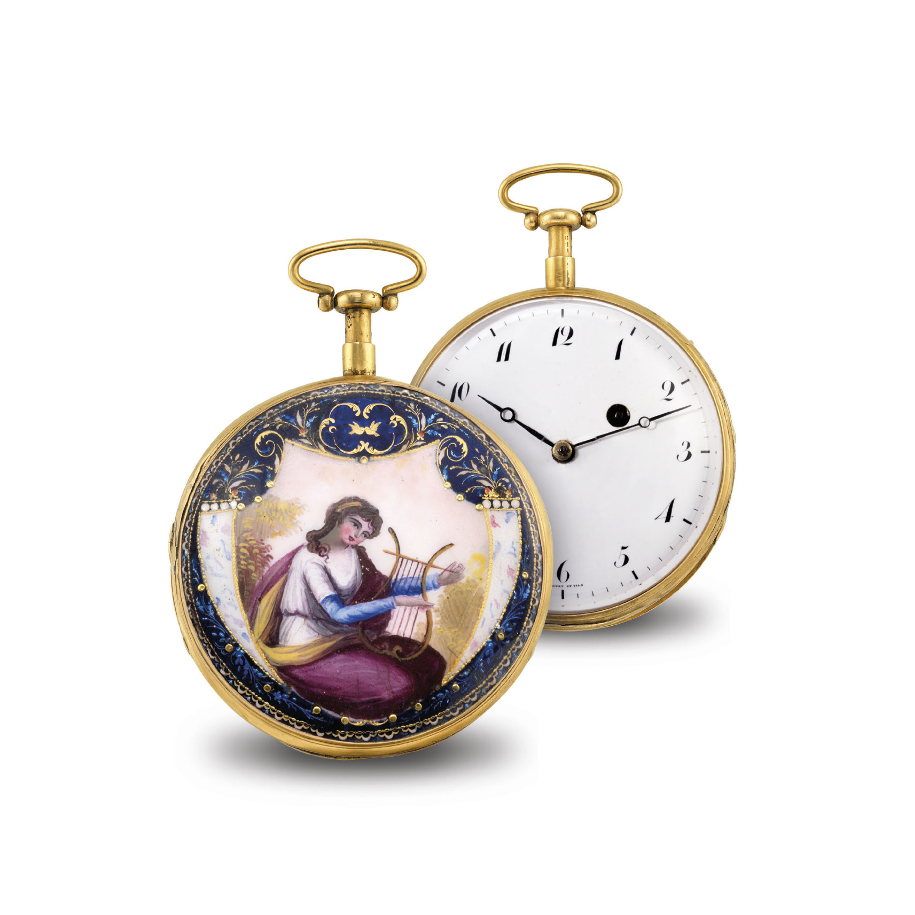 SWISS. A GOLD AND ENAMEL OPENF
