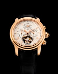 BLANCPAIN. A VERY FINE AND RARE 18K PINK GOLD AUTOMATIC PERPETUAL CALENDAR SPLIT SECONDS FLYBACK CHRONOGRAPH WRISTWATCH WITH TOURBILLON AND LEAP YEAR INDICATION