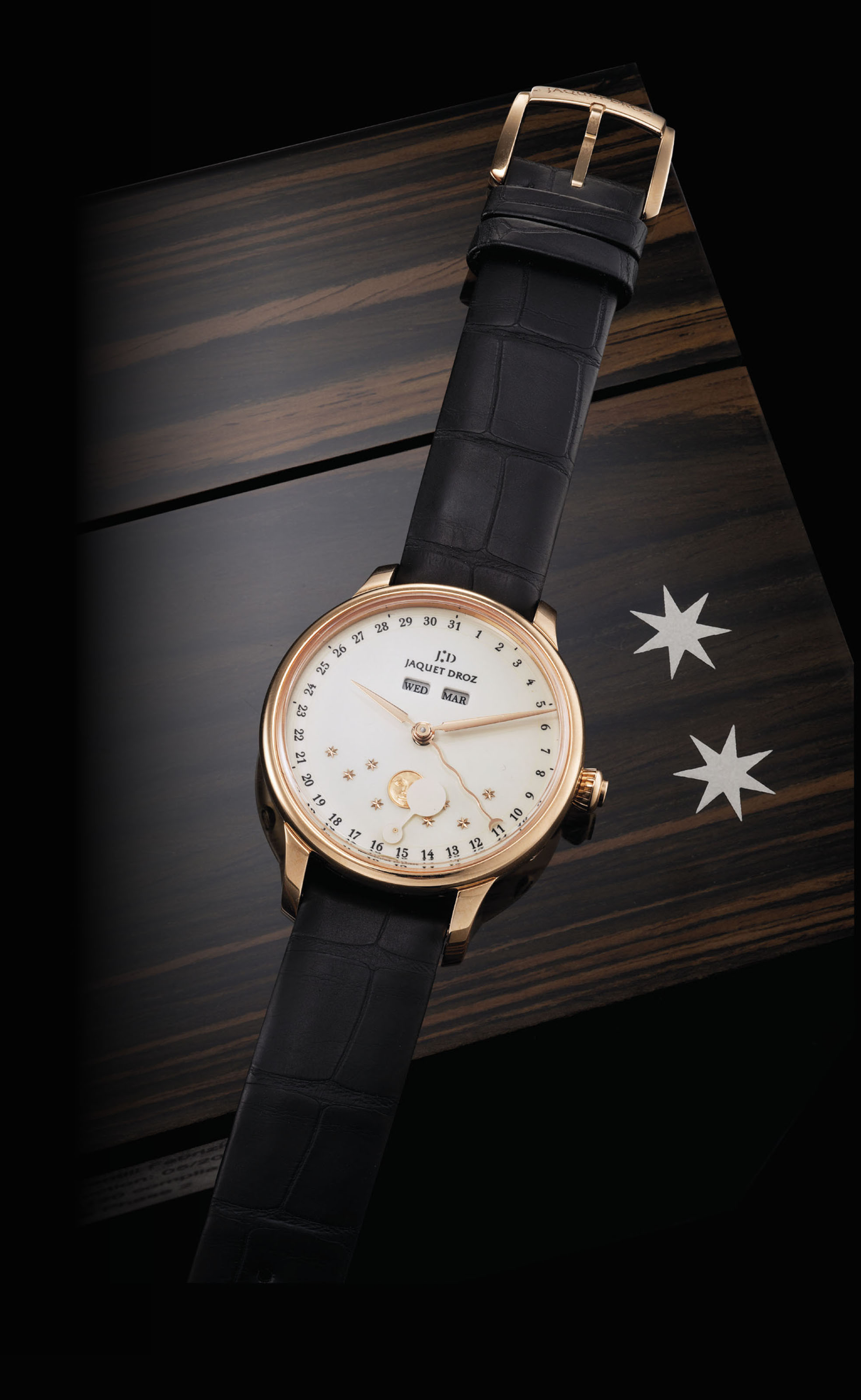 JAQUET DROZ. A FINE 18K PINK GOLD AUTOMATIC TRIPLE CALENDAR WRISTWATCH WITH RETROGRADE MOON PHASES AND GRAND FEU ENAMEL DIAL