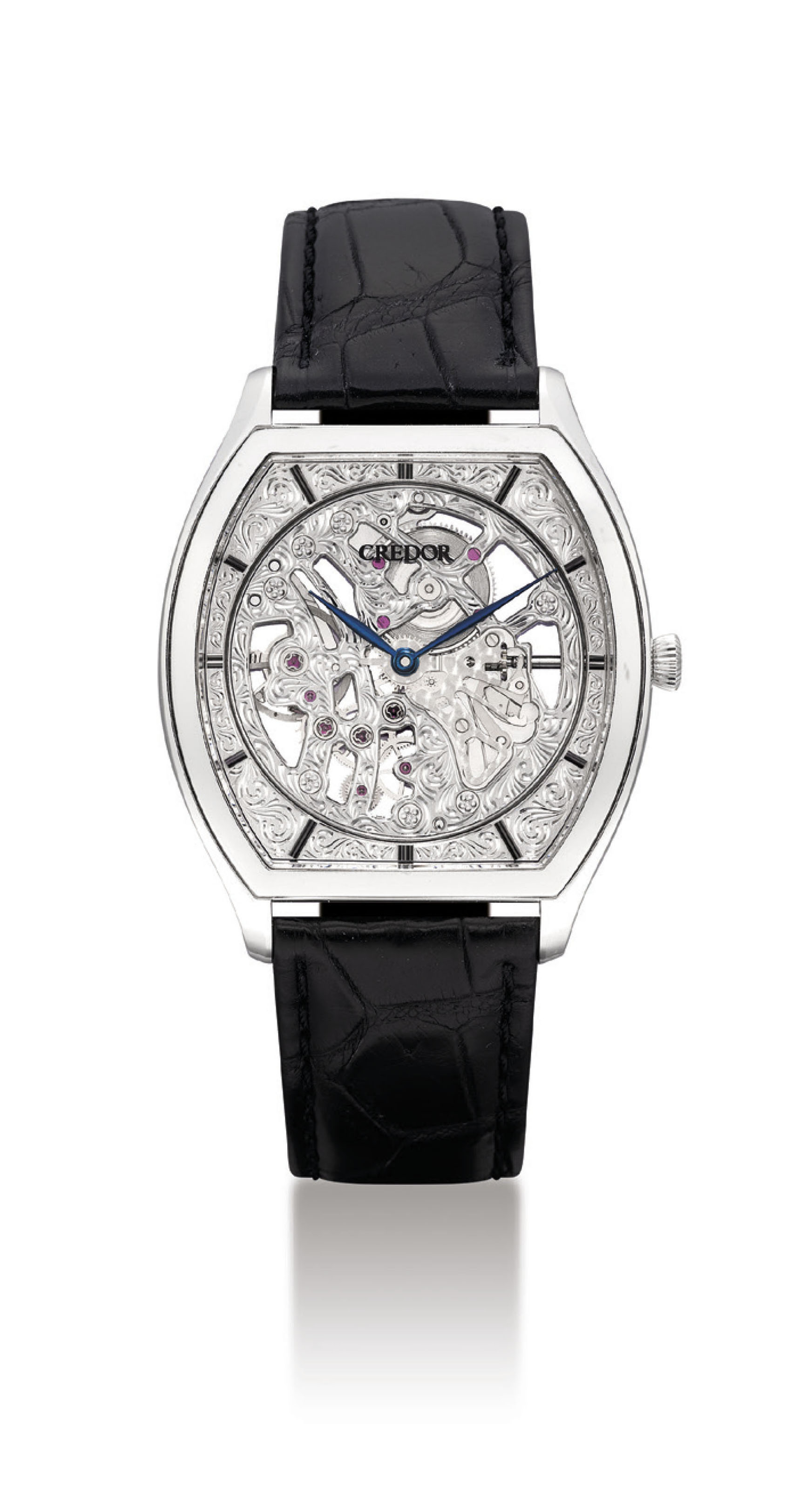 CREDOR. A FINE PLATINUM SKELETONISED TONNEAU-SHAPED WRISTWATCH