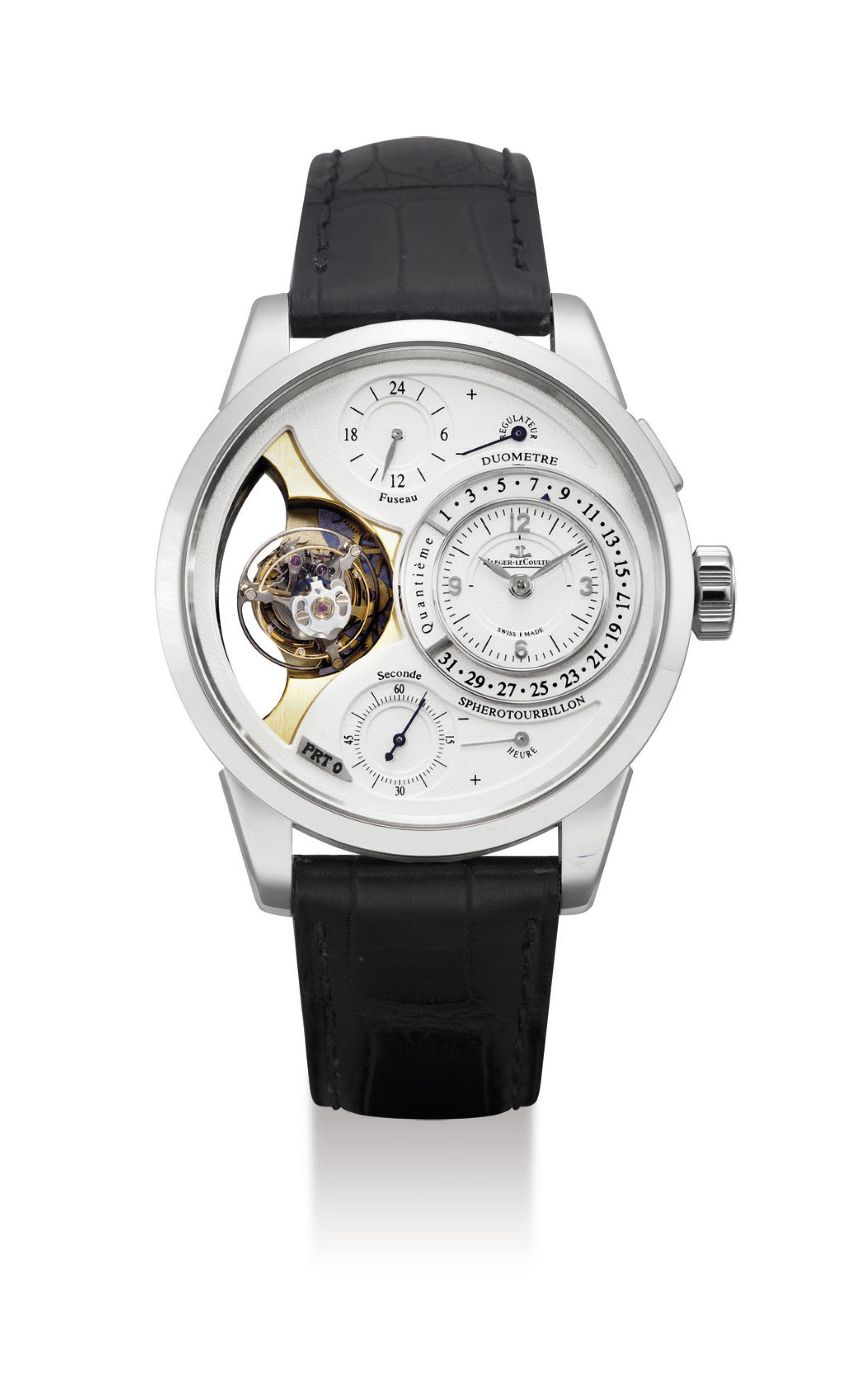 JAEGER-LECOULTRE. AN EXTREMELY FINE PLATINUM MULTI-AXIS TOURBILLION DUAL TIME PROTOTYPE WRISTWATCH WITH RETROGRADE DATE, TWIN POWER RESERVE INDICATION AND FLYBACK SECONDS