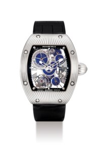 RICHARD MILLE. A UNIQUE AND VERY FINE 18K WHITE GOLD TONNEAU-SHAPED SKELETONISED TOURBILLON WRISTWATCH WITH LAPIS LAZULI-SET WHEELS, MADE TO COMMEMORATE THE 150TH ANNIVERSARY OF BOUCHERON