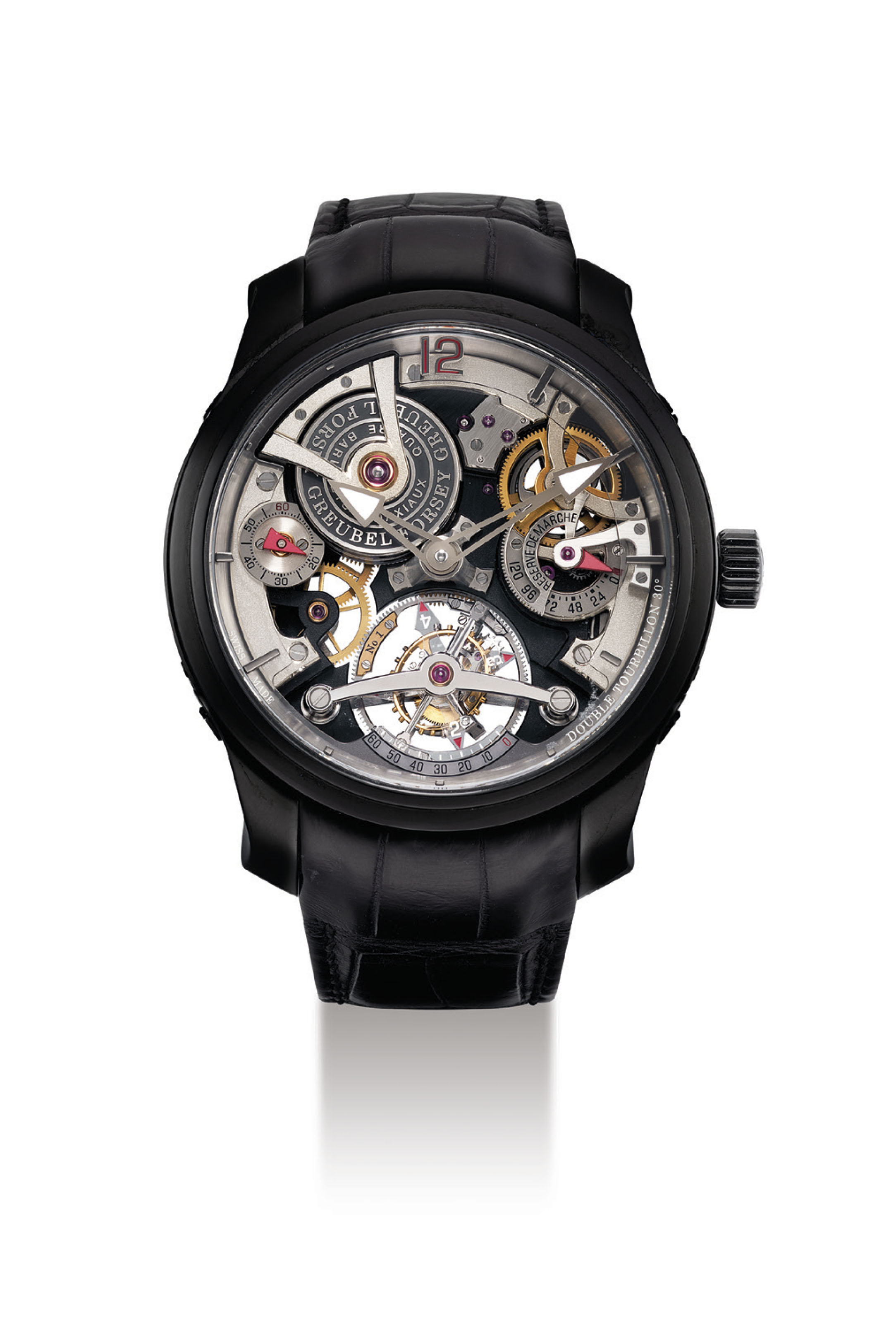 GREUBEL FORSEY. AN IMPORTANT AND VERY FINE BLACK ADLC-COATED PLATINUM SEMI-SKELETONISED 30° INCLINED DOUBLE TOURBILLON WRISTWATCH WITH 120 HOURS POWER RESERVE