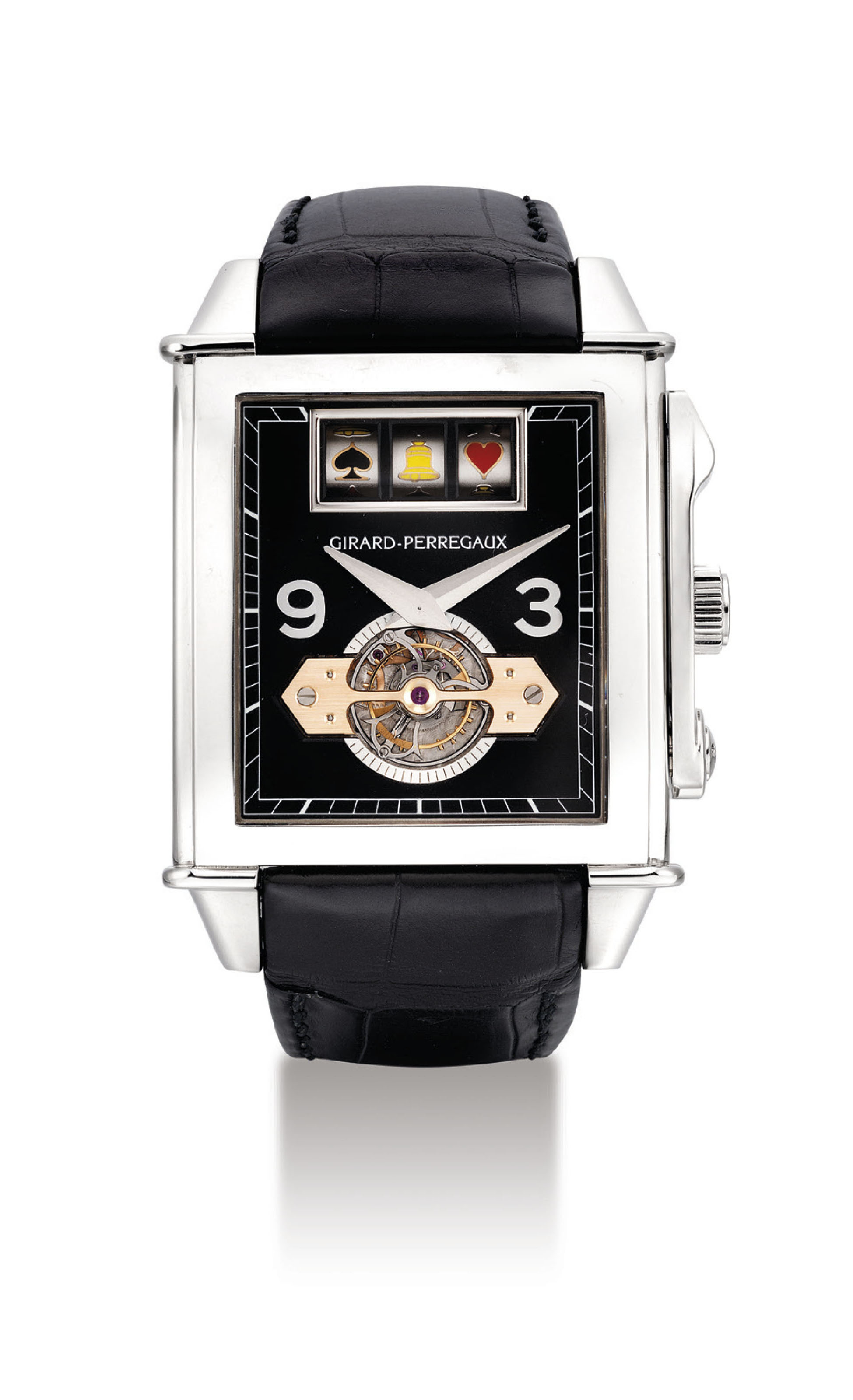 GIRARD-PERREGAUX. A VERY FINE AND RARE OVERSIZED 18K WHITE GOLD RECTANGULAR GOLD BRIDGE TOURBILLON WRISTWATCH WITH SLOT MACHINE AND CHIME MECHANISM