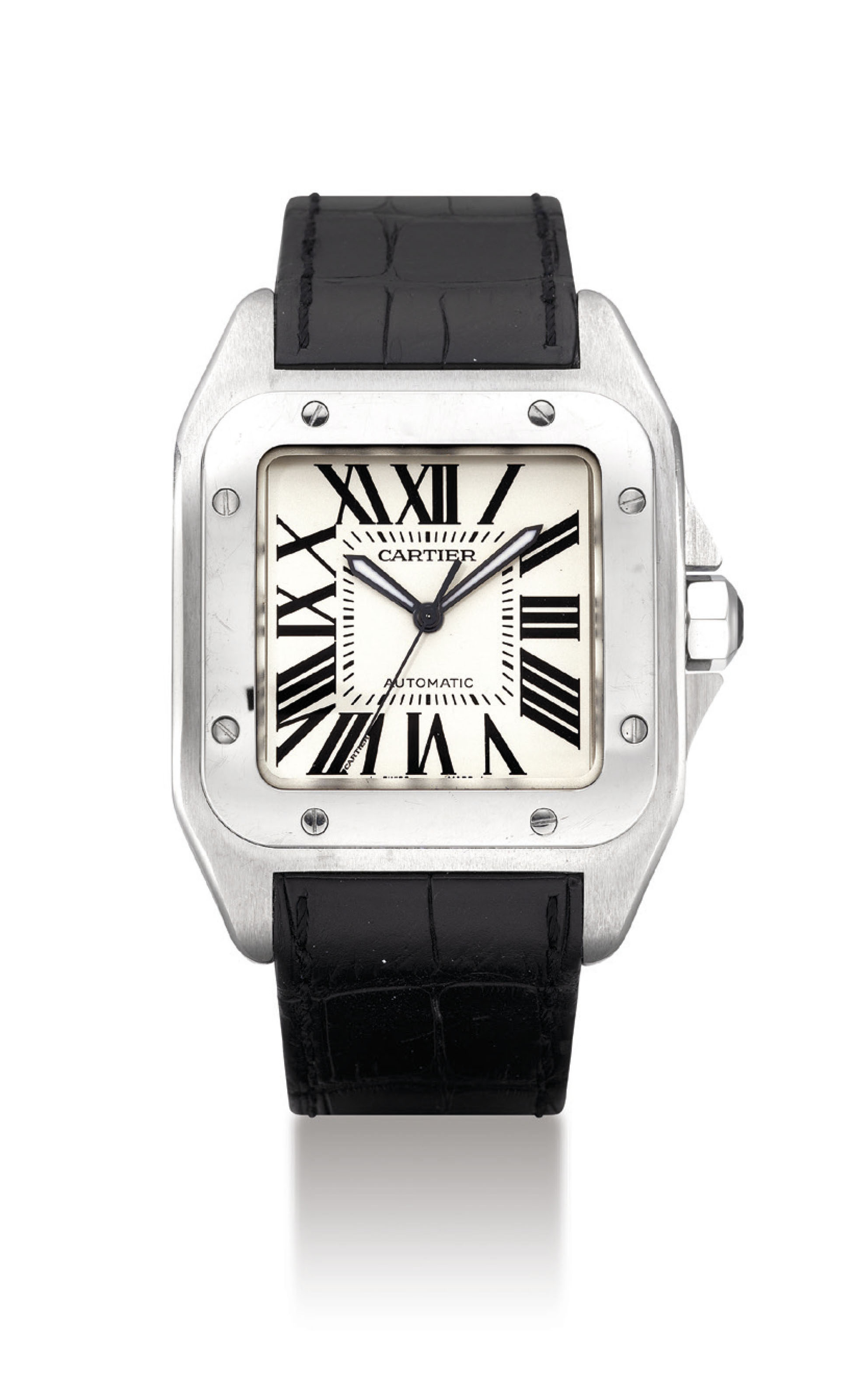 CARTIER. A STAINLESS STEEL SQU
