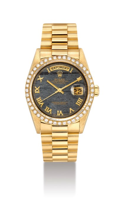 ROLEX. A FINE 18K GOLD AND DIA