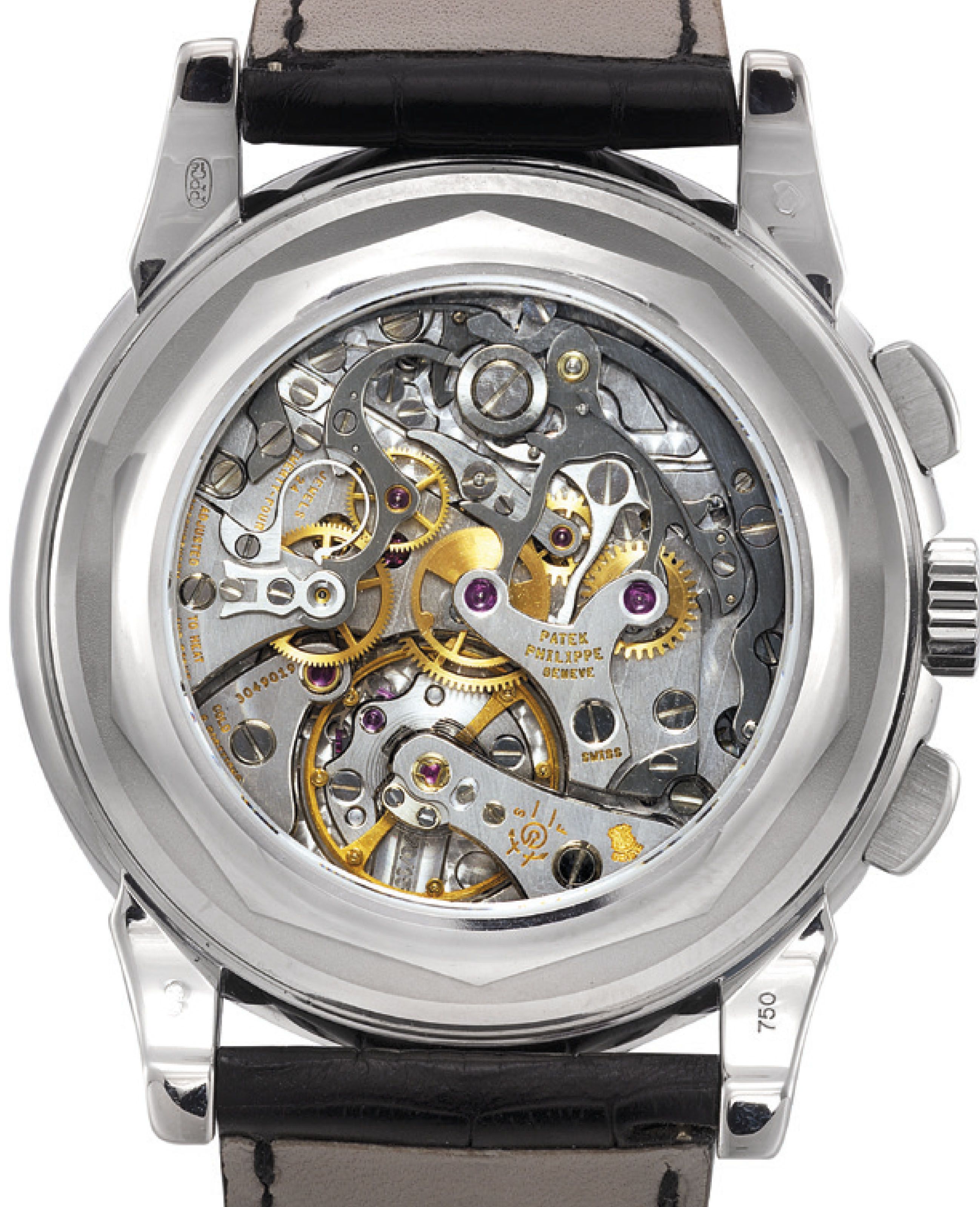 PATEK PHILIPPE. A FINE AND RARE 18K WHITE GOLD PERPETUAL CALENDAR CHRONOGRAPH WRISTWATCH WITH MOON PHASES, 24 HOUR, LEAP YEAR INDICATION, ADDITIONAL CASE BACK, ORIGINAL CERTIFICATE AND BOX