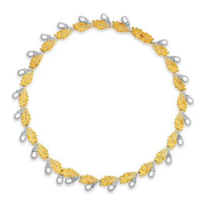 A CULTURED PEARL NECKLACE, BY