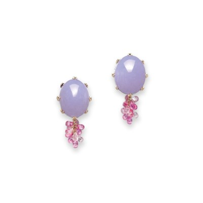 A PAIR OF MULTI-GEM EARRINGS