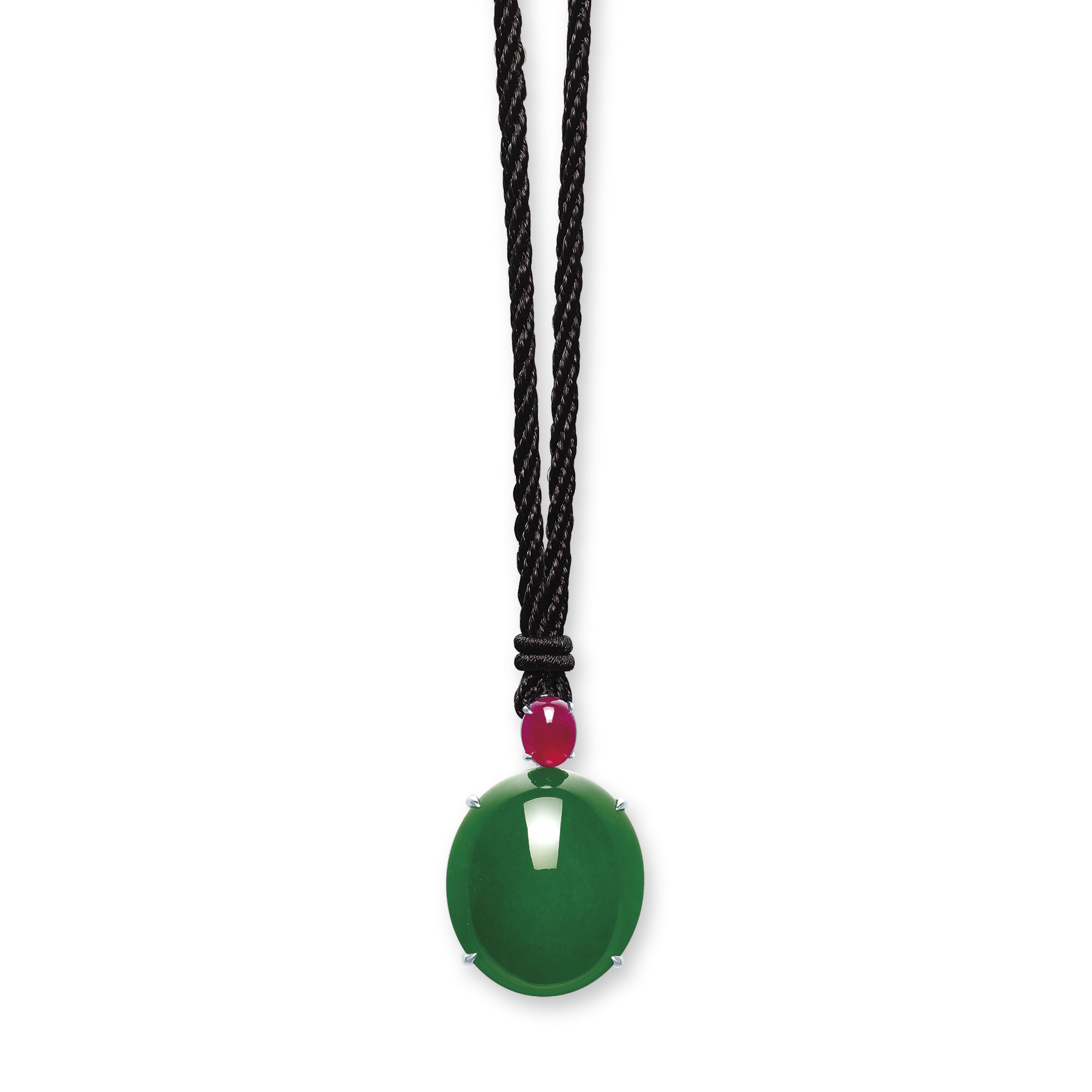 AN IMPORTANT JADEITE AND RUBY PENDANT NECKLACE