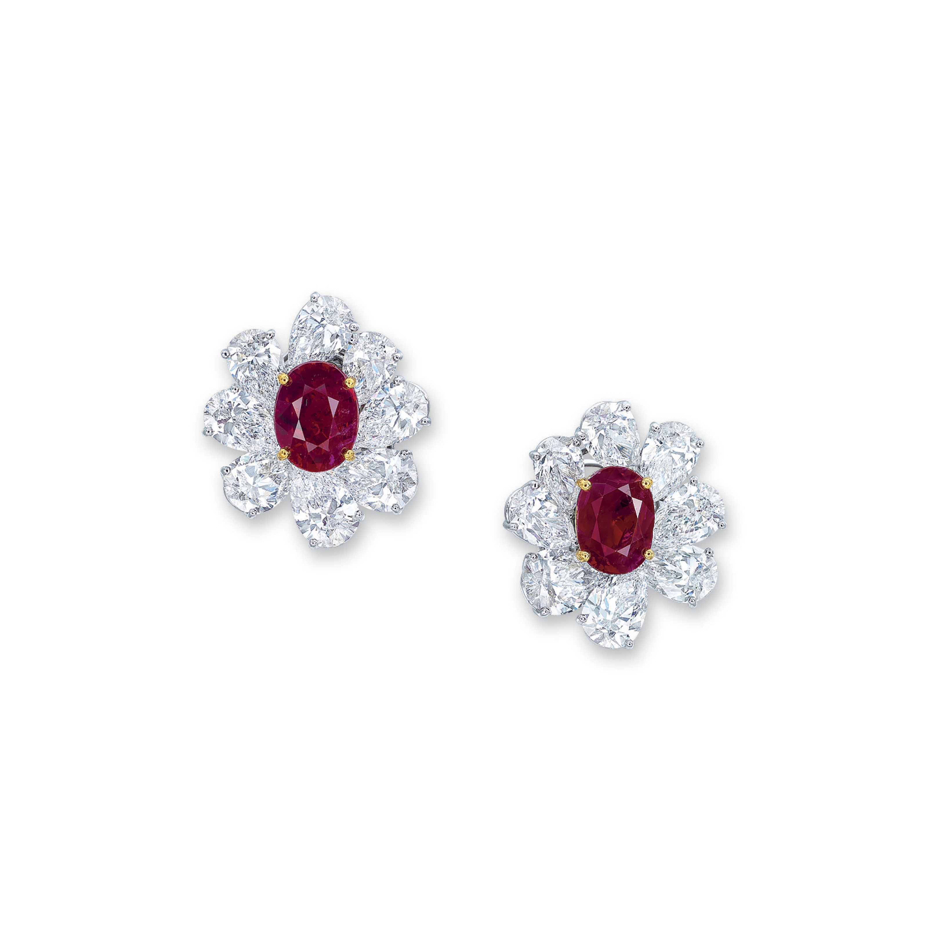 AN IMPORTANT PAIR OF RUBY AND DIAMOND EARRINGS
