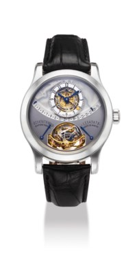 JAEGER-LECOULTRE. AN IMPORTANT AND RARE PLATINUM LIMITED EDITION SEMI-SKELETONISED PERPETUAL CALENDAR MULTI-AXIS SPHERICAL TOURBILLON WRISTWATCH WITH RETROGRADE DATE, MONTH AND LEAP YEAR INDICATION, 8 DAY POWER RESERVE AND EQUATION OF TIME