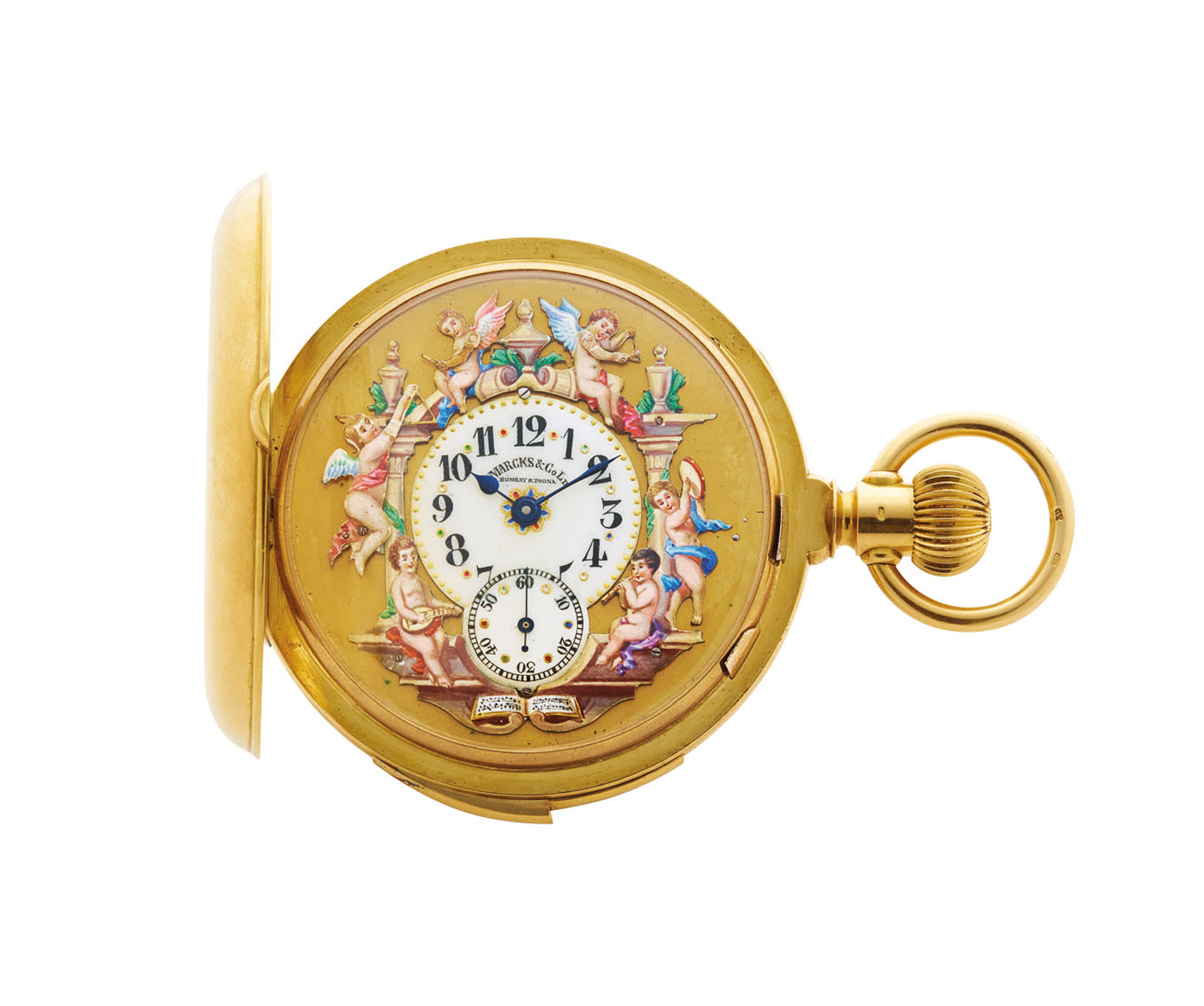 MARCKS & CO./LECOULTRE. A FINE, RARE AND ATTRACTIVE 18K GOLD AND ENAMEL HUNTER CASE MINUTE REPEATING THREE AUTOMATON KEYLESS LEVER WATCH
