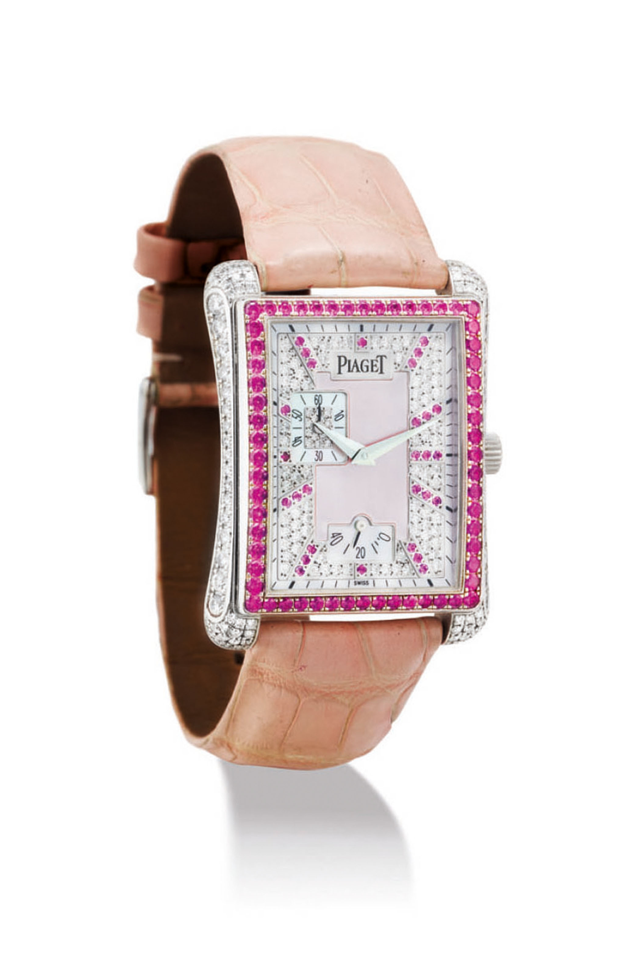 PIAGET A LADY'S FINE 18K WHITE GOLD, DIAMOND AND PINK SAPPHI...