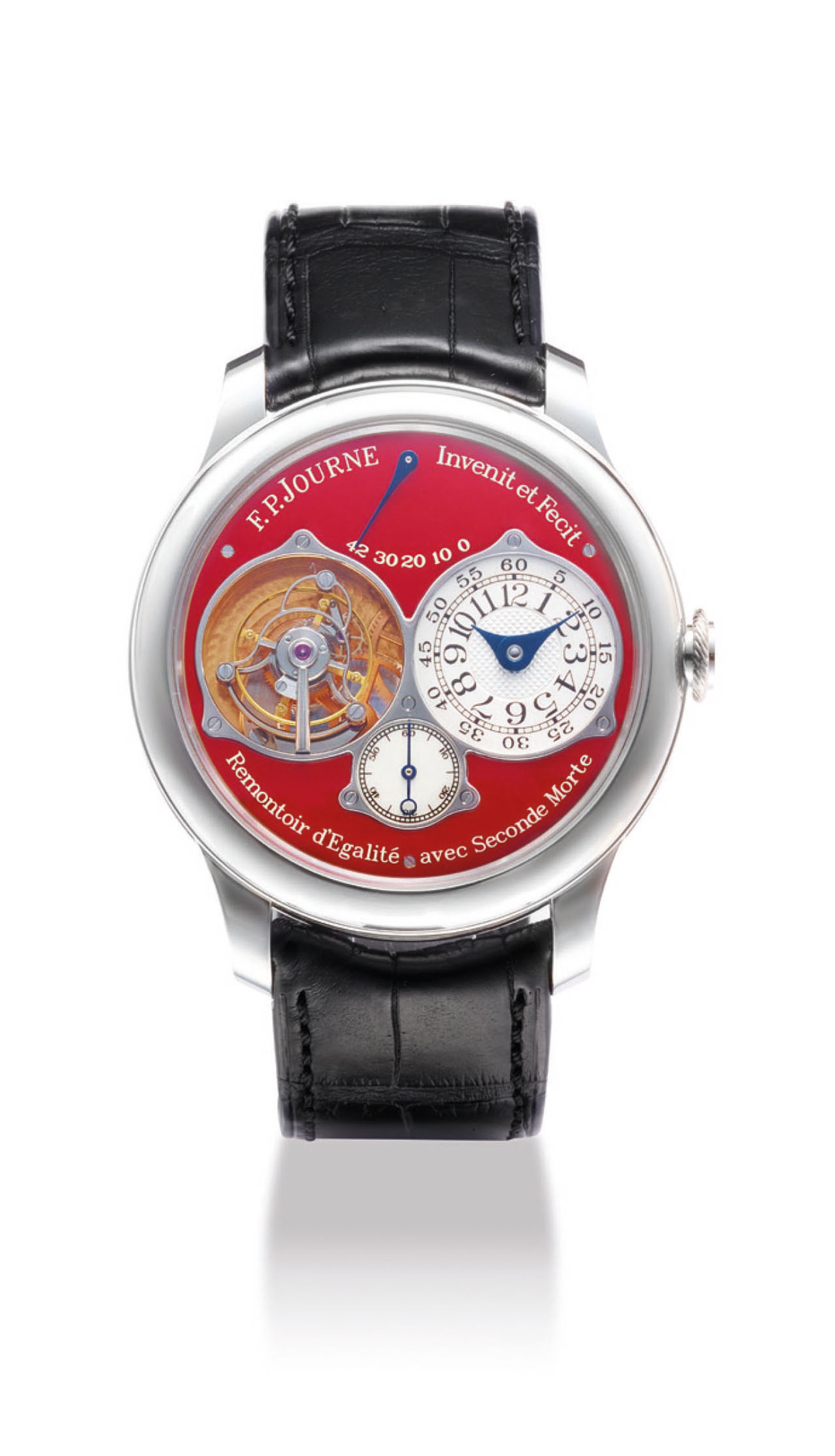 F.P. JOURNE. A FINE AND VERY RARE PLATINUM TOURBILLON WRISTWATCH WITH CONSTANT FORCE WINDING, POWER RESERVE, DEAD BEAT SECONDS AND RED DIAL
