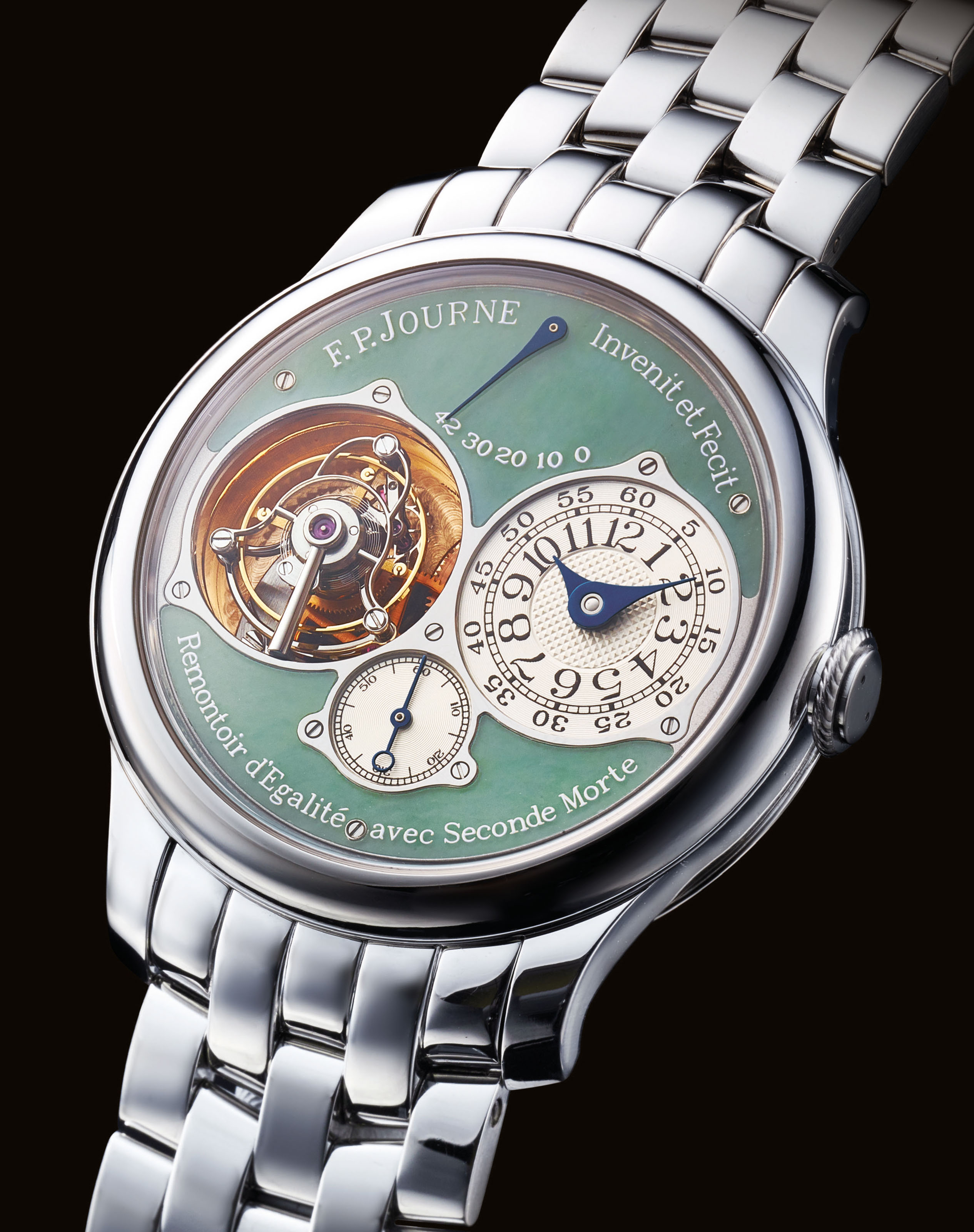 F.P. JOURNE. AN IMPRESSIVE AND VERY RARE PLATINUM TOURBILLON WRISTWATCH WITH CONSTANT FORCE WINDING, POWER RESERVE, DEAD BEAT SECONDS, BRACELET AND JADE DIAL