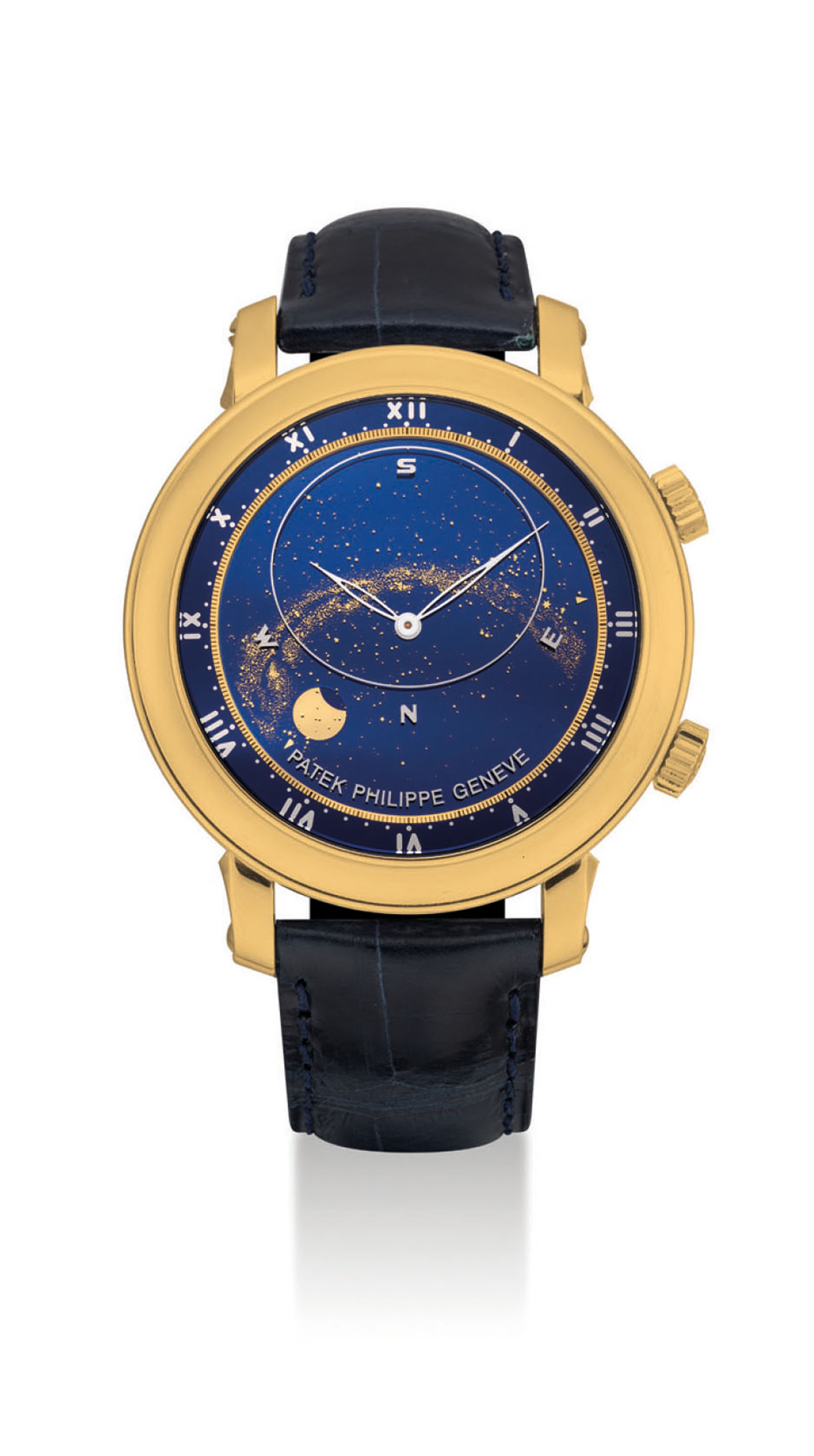 Patek philippe a fine and rare 18k gold automatic astronomical wristwatch with sky chart for Patek philippe geneve