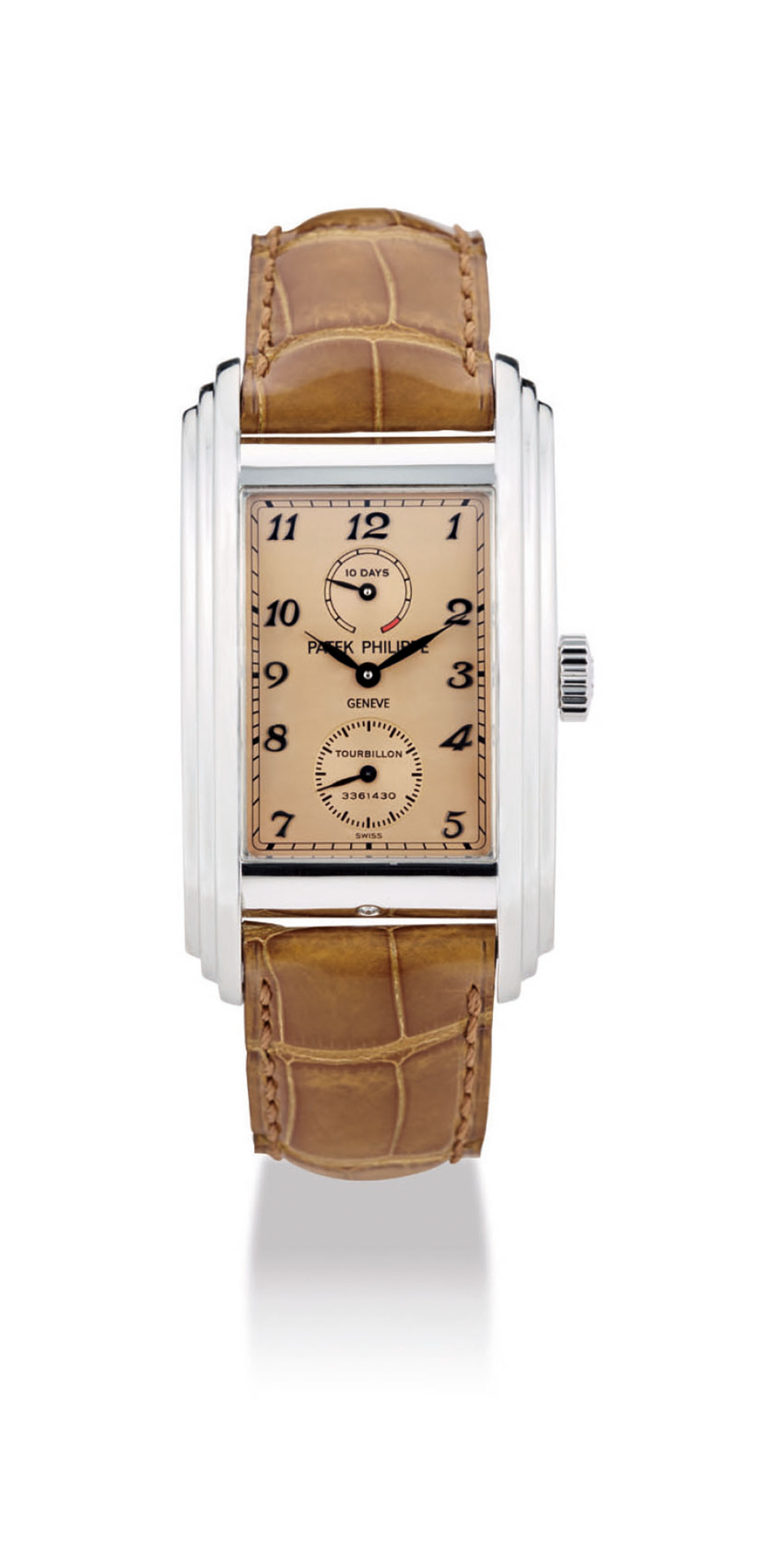 PATEK PHILIPPE A VERY FINE AND RARE PLATINUM RECTANGULAR TOU...