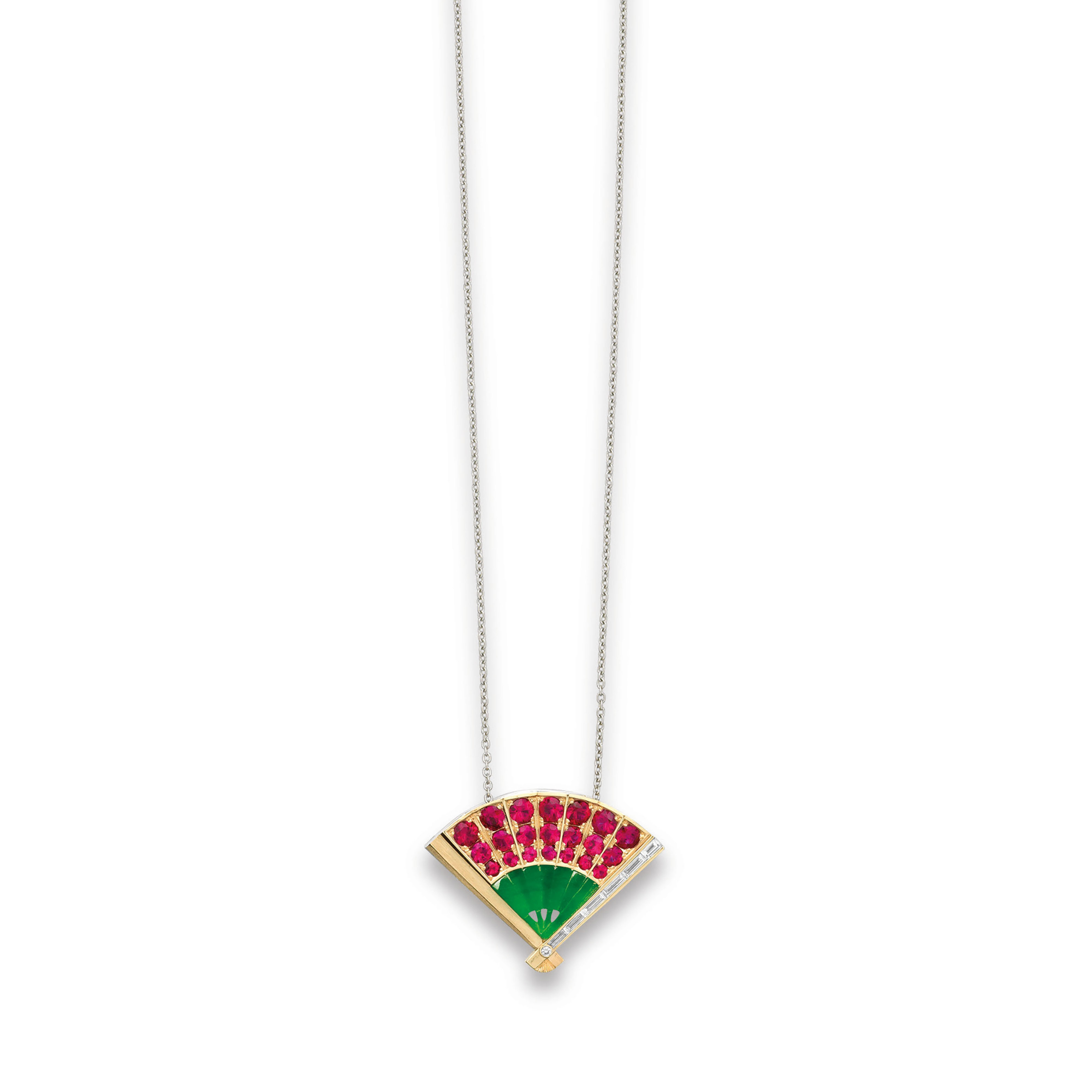 A JADEITE, RUBY AND DIAMOND PENDANT NECKLACE, BY SUWA