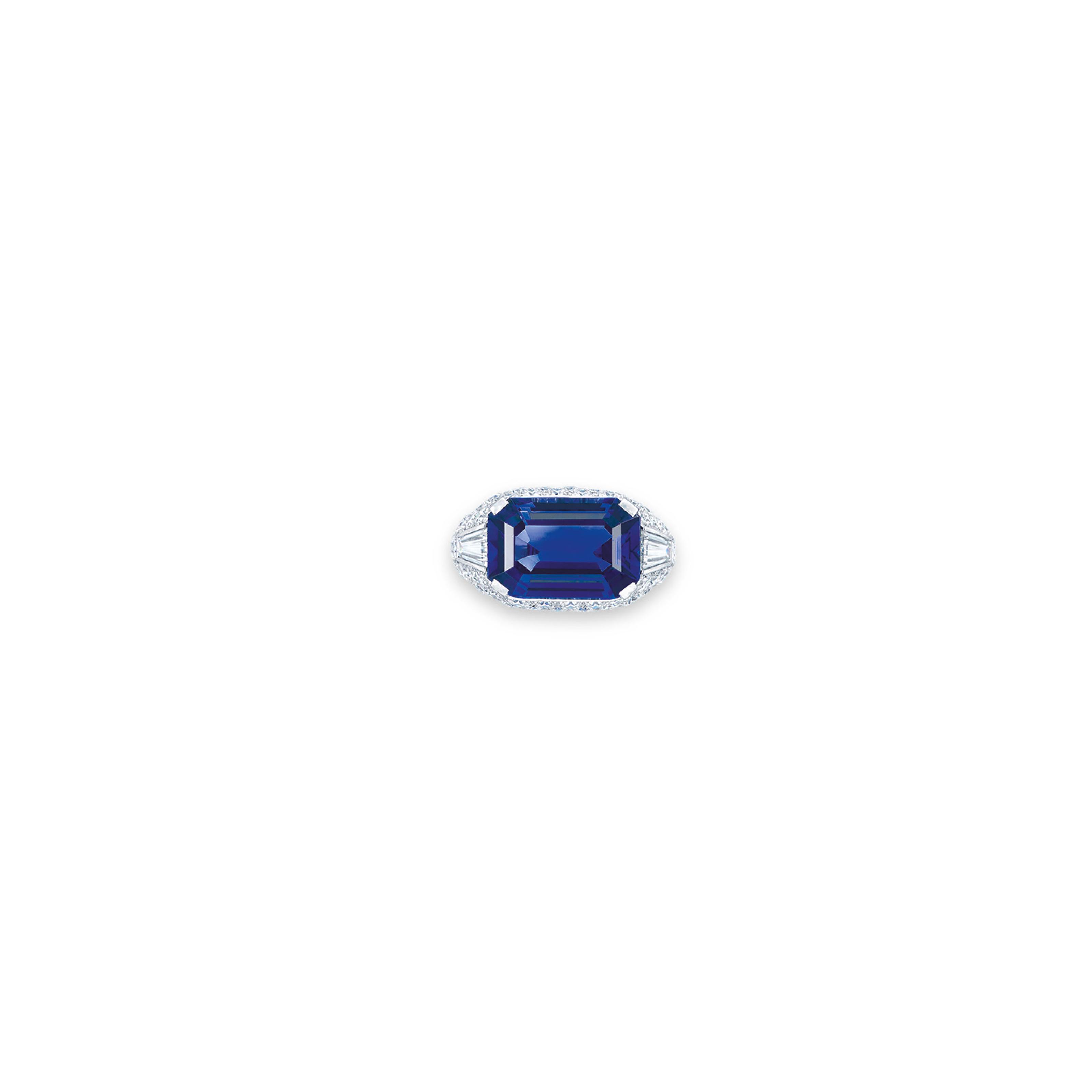 A SAPPHIRE AND DIAMOND RING, BY SUWA