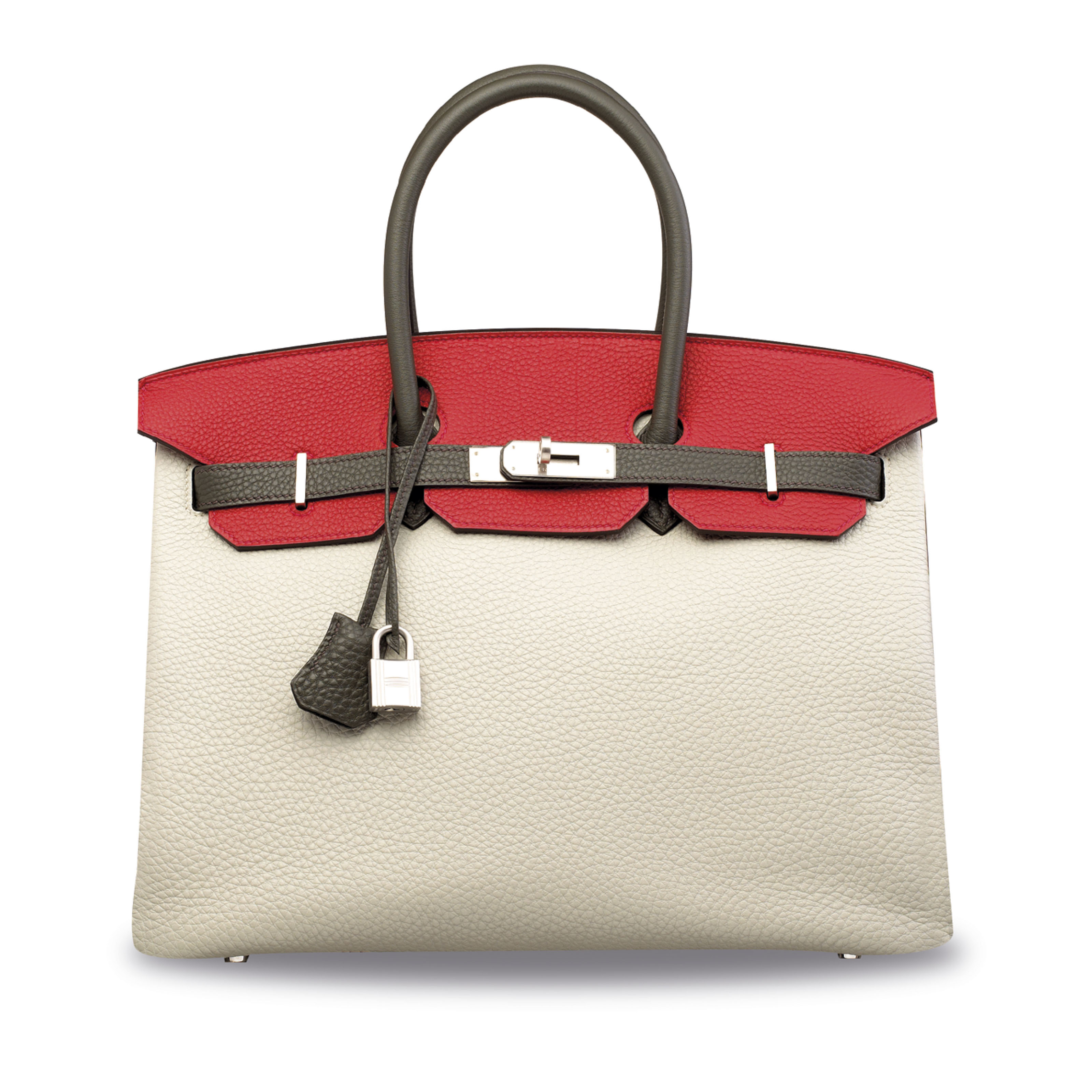 A CUSTOM GRIS PERLE, ROUGE CASAQUE & GRAPHITE CLÉMENCE LEATHER BIRKIN 35 WITH BRUSHED PALLADIUM HARDWARE