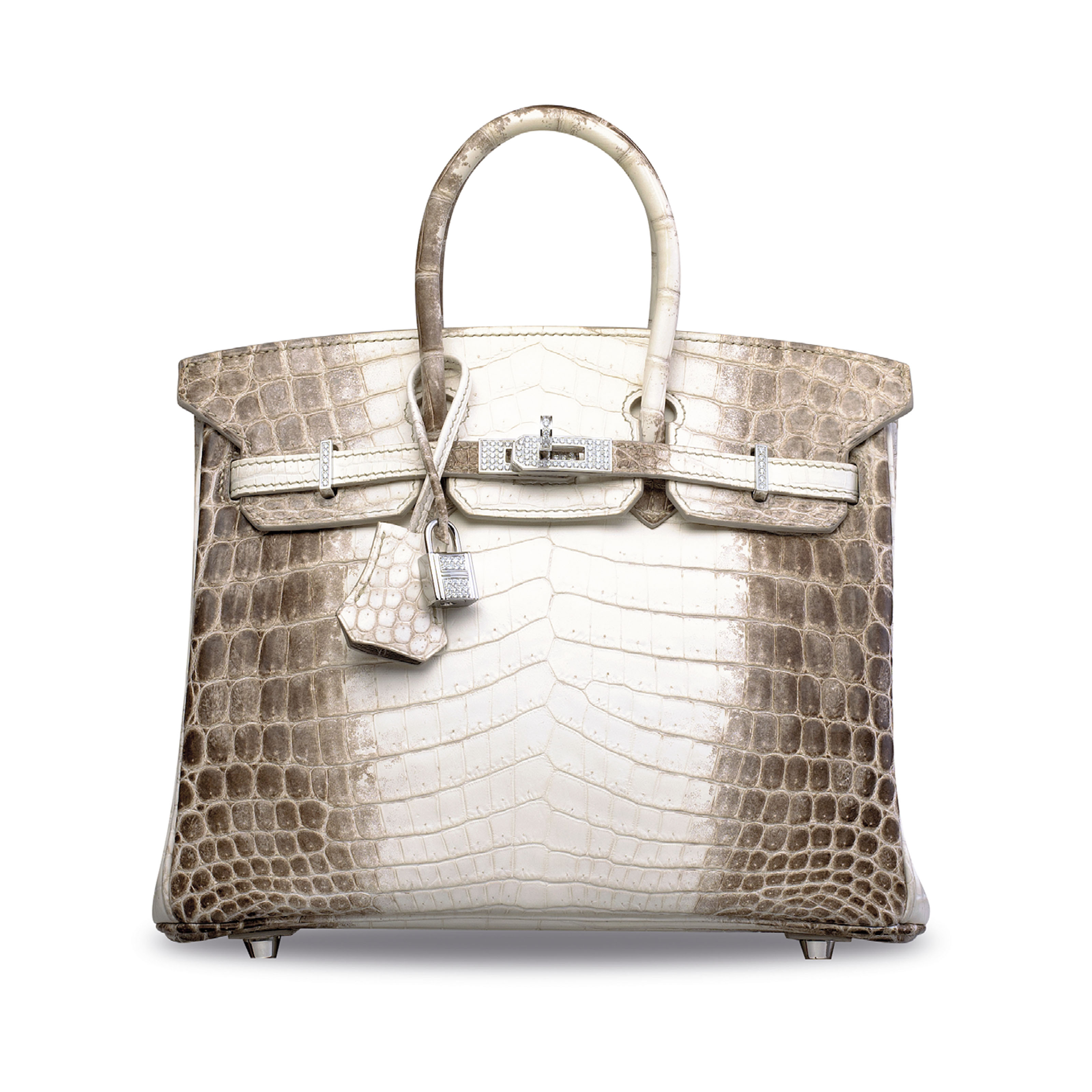 AN EXCEPTIONAL, MATTE WHITE HIMALAYA NILOTICUS CROCODILE DIAMOND BIRKIN 25 WITH 18K WHITE GOLD & DIAMOND HARDWARE