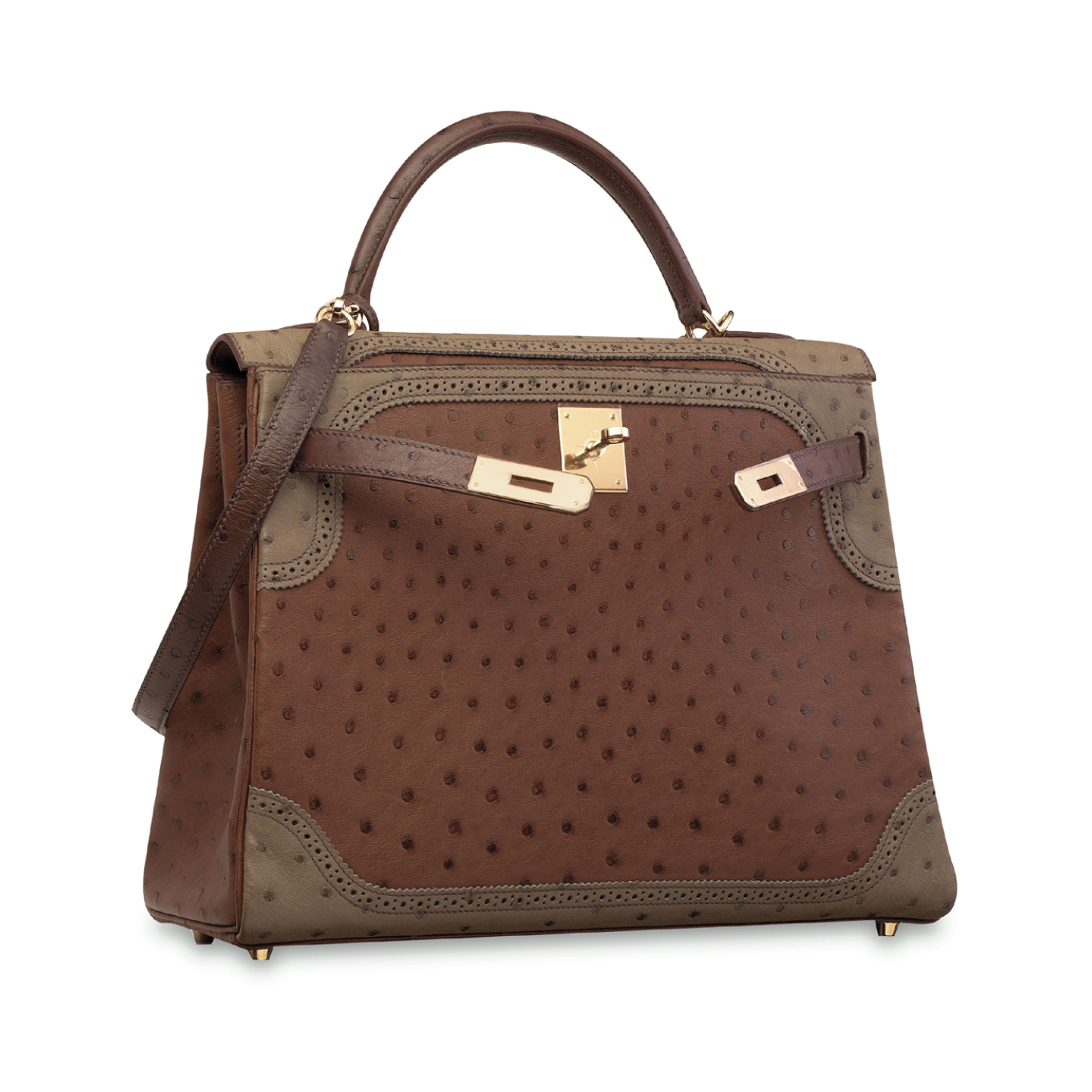 A LIMITED EDITION ÉTRUSQUE, MOUSSE & MARRON FONCÉ OSTRICH GHLLIES KELLY 32 WITH PERMABRASS HARDWARE