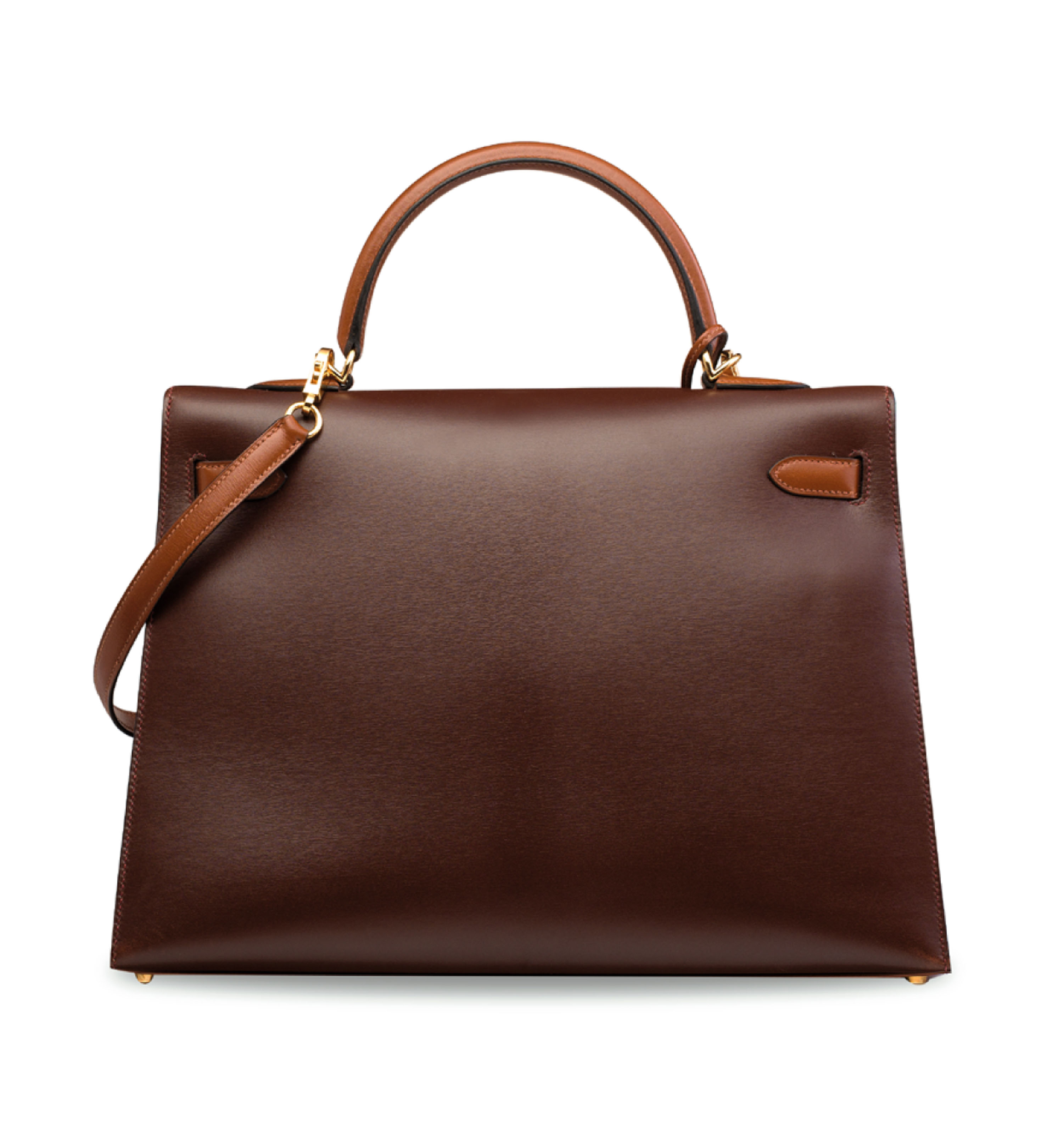 A ROUGE H, CHOCOLATE & NOISETTE CALF BOX LEATHER SELLIER KELLY 35 WITH GOLD HARDWARE