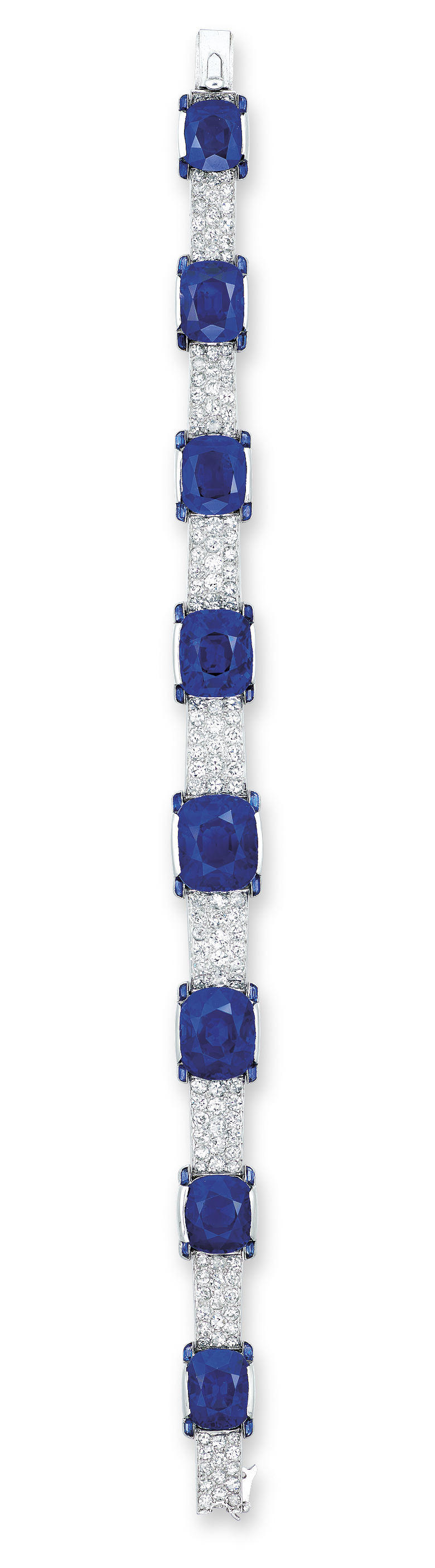 AN EXCEPTIONAL ART DECO SAPPHIRE AND DIAMOND BRACELET, BY CARTIER