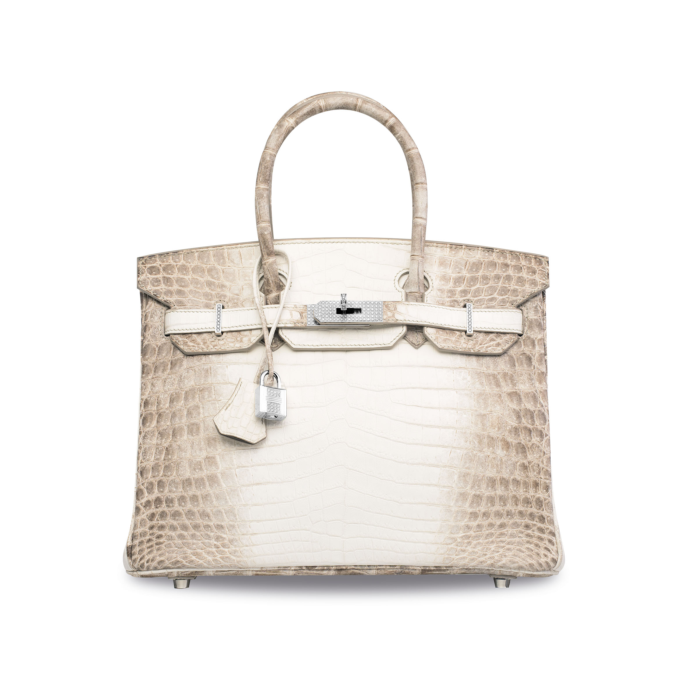 AN EXCEPTIONAL, MATTE WHITE HIMALAYA NILOTICUS CROCODILE DIAMOND BIRKIN 30 WITH 18K WHITE GOLD & DIAMOND HARDWARE