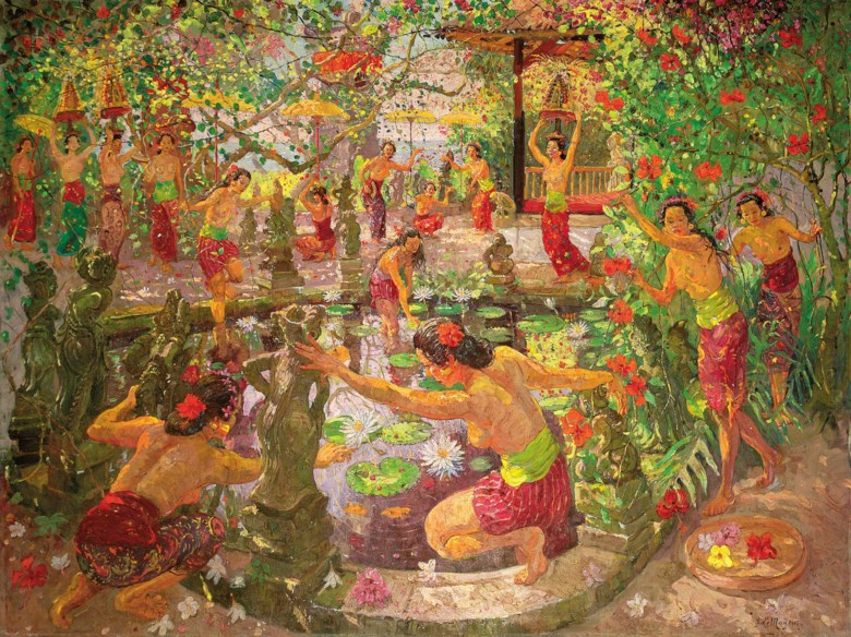 Adrien-Jean le Mayeur de Merprès (1880-1958), Women Around the Lotus Pond, circa 1950-1951. Oil on canvas. 150 x 200  cm (59 x 78¾  in). Sold for HK$30,360,000 on 30 May 2016 at Christie's in Hong Kong. Artwork © DACS 2020