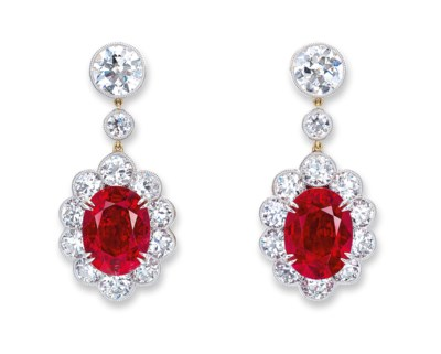 A SUPERB PAIR OF RUBY AND DIAM