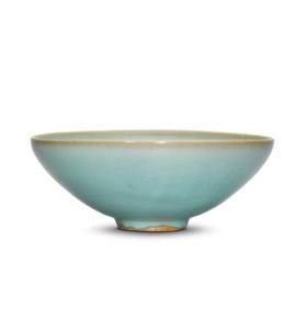 A LARGE JUN SKY-BLUE GLAZED BOWL