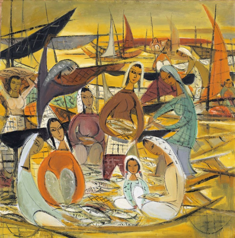 Lin Fengmian (1900-1991), Fishing Village, circa 1950s-1960s. Oil on canvas. 80 x 78  cm (31½ x 30¾  in). Sold for HK$39,740,000 on 26 November 2016 at Christie's in Hong Kong, HKCEC Grand Hall