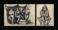 Untitled (Circus Scene); Untitled (Clown)