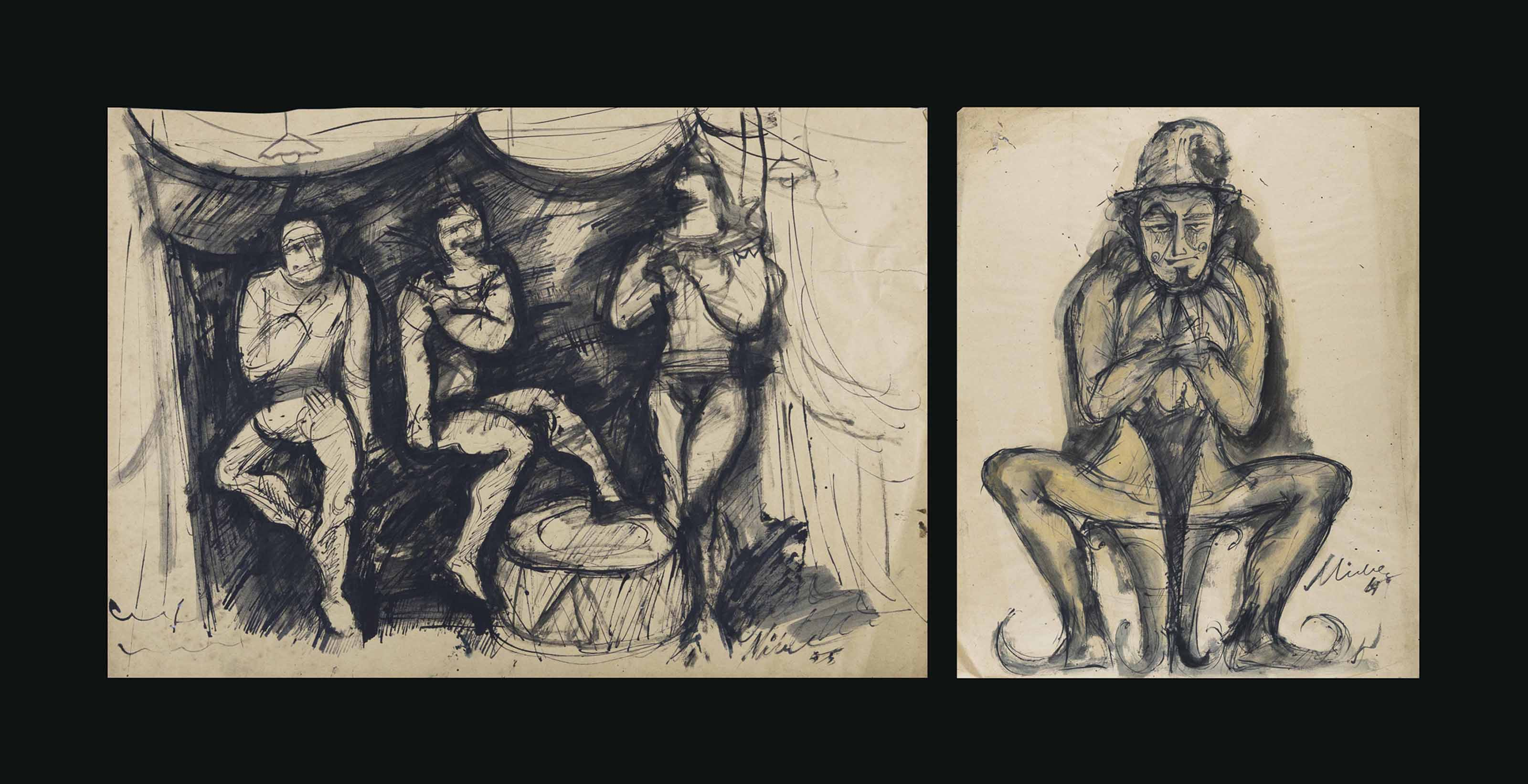 Untitled (Circus Scene); Untitled (Clown)