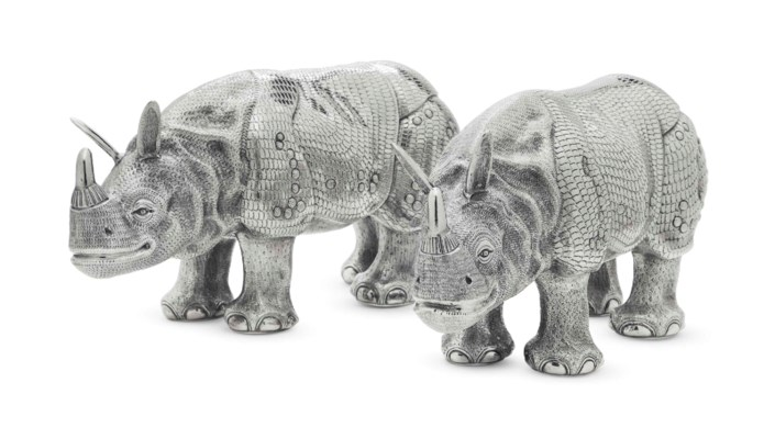 A PAIR OF SILVER MODELS OF RHI