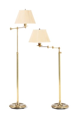 A PAIR OF BRASS ADJUSTABLE FLO