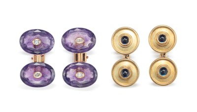 TWO PAIRS OF GEM-SET CUFFLINKS