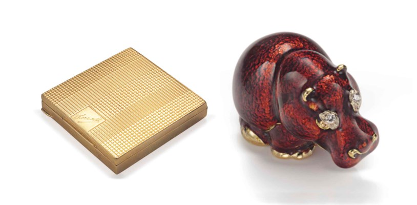 A GOLD COMPACT AND A PILL BOX