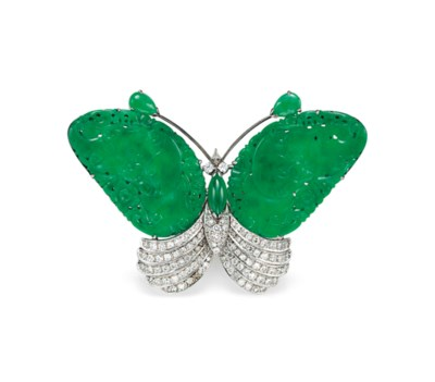 A JADE AND DIAMOND BUTTERFLY B