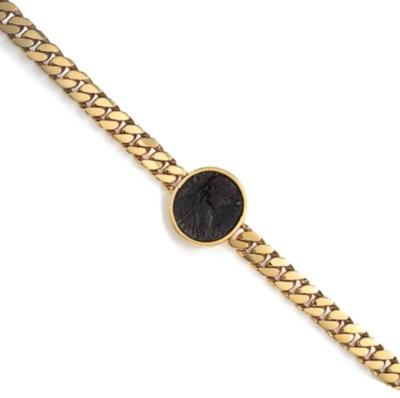 A GOLD AND ANTIQUE COIN NECKLA