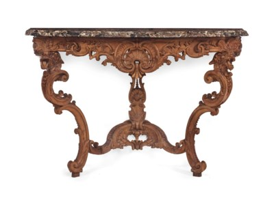 AN EARLY LOUIS XV OAK CONSOLE