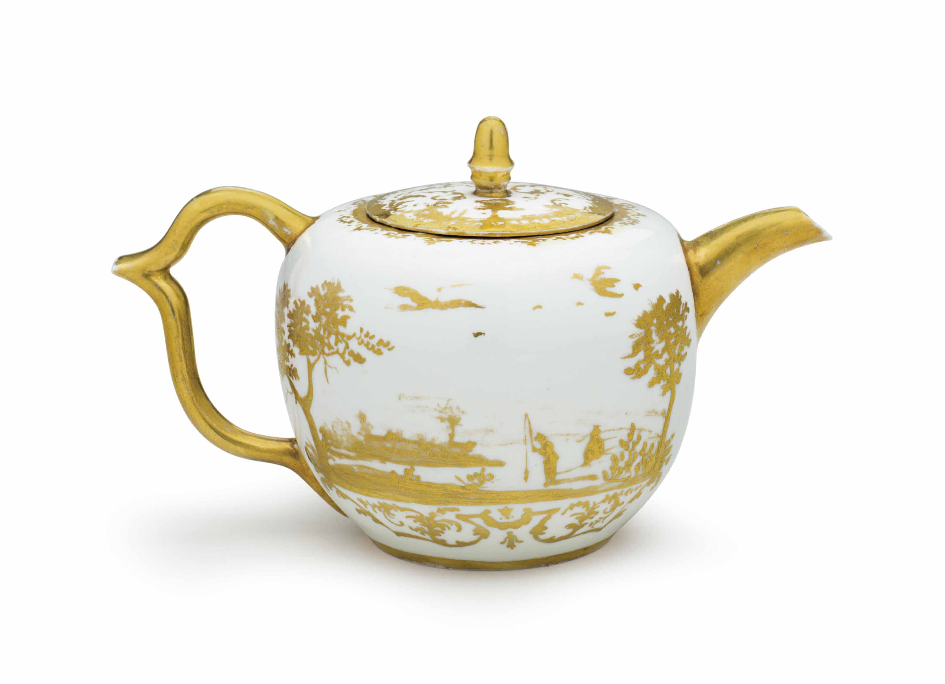 AN EARLY MEISSEN PORCELAIN SMALL GILT-WHITE TEAPOT AND COVER