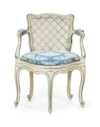A LOUIS XV BLUE AND GREY-PAINT