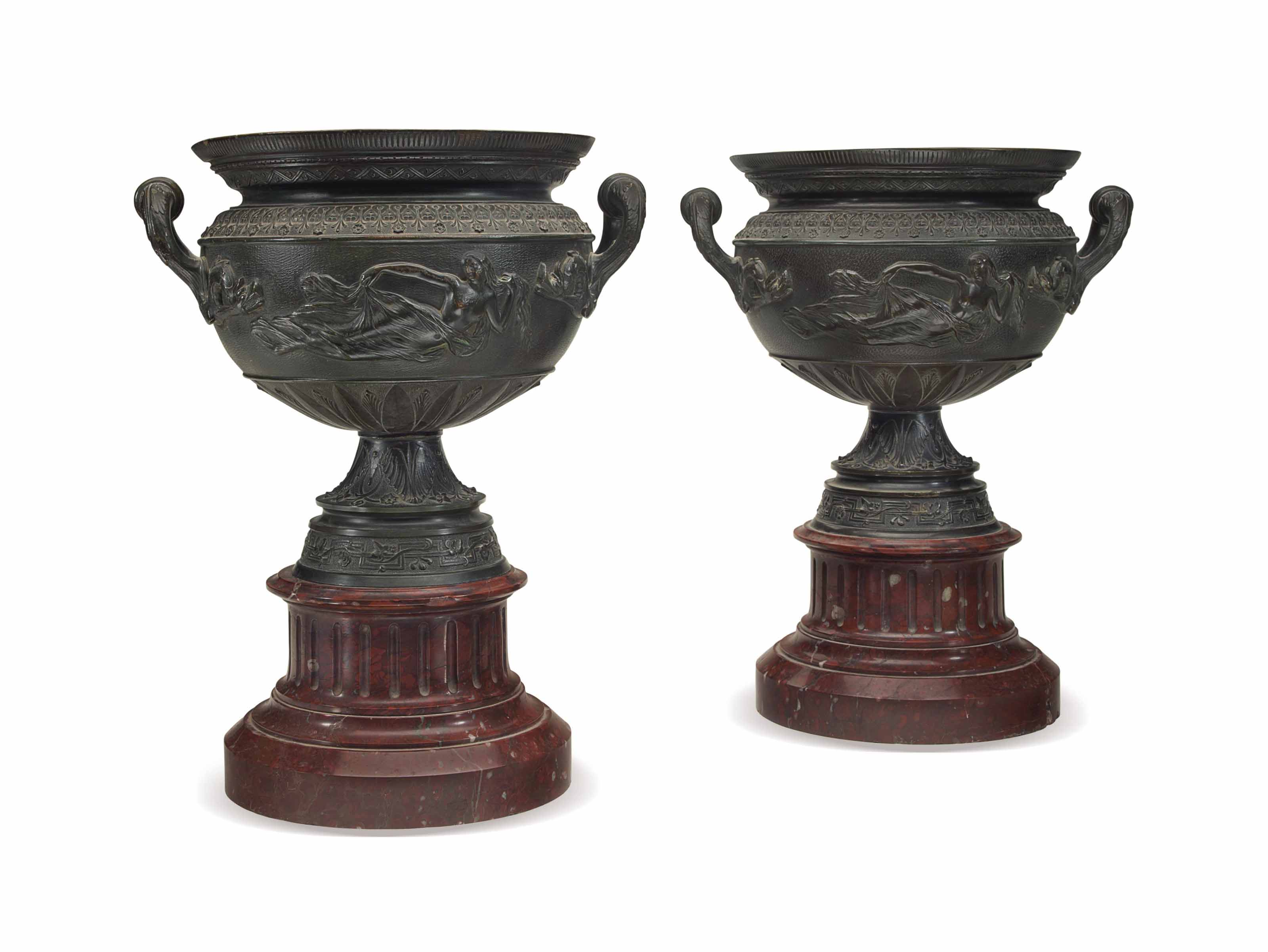 A PAIR OF PATINATED-BRONZE URN