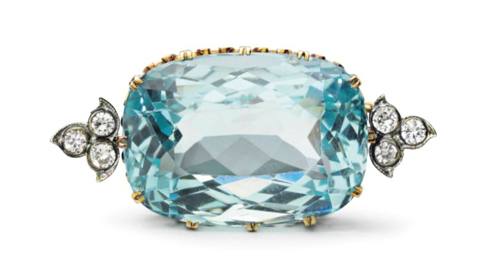 A GOLD, SILVER, AQUAMARINE AND