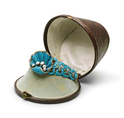 A TURQUOISE AND PEARL-SET SILV