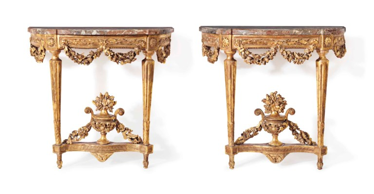 A PAIR OF LOUIS XVI GILTWOOD C