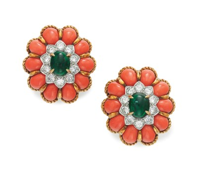 A PAIR OF OF CORAL, TOURMALINE